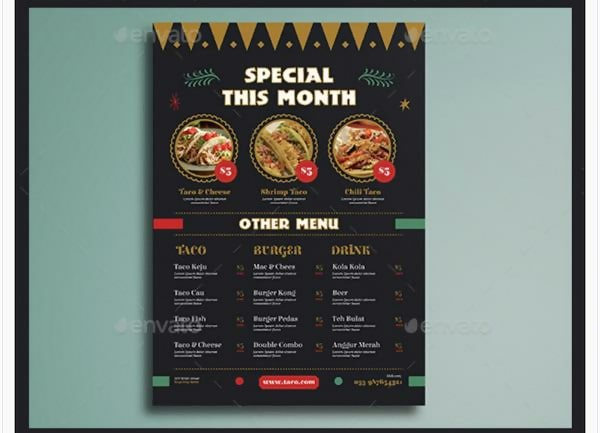 Mexican Food Flyer Menu Template