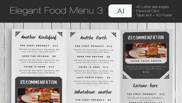 Free Elegant Food Menu 3