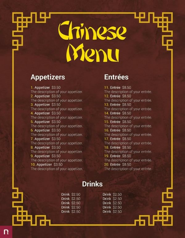Free Chinese Menu Template
