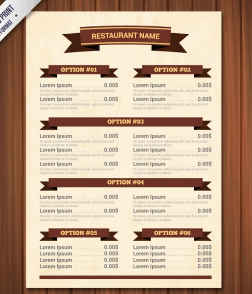 Free Menu Template with Ribbons