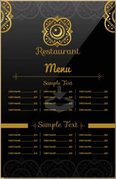 Free Indian Restaurant Menu Template