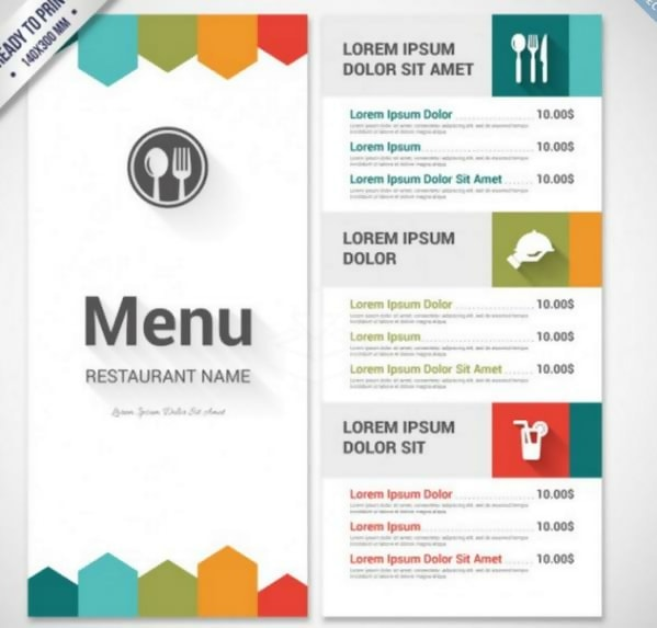 Colourful Menu Template