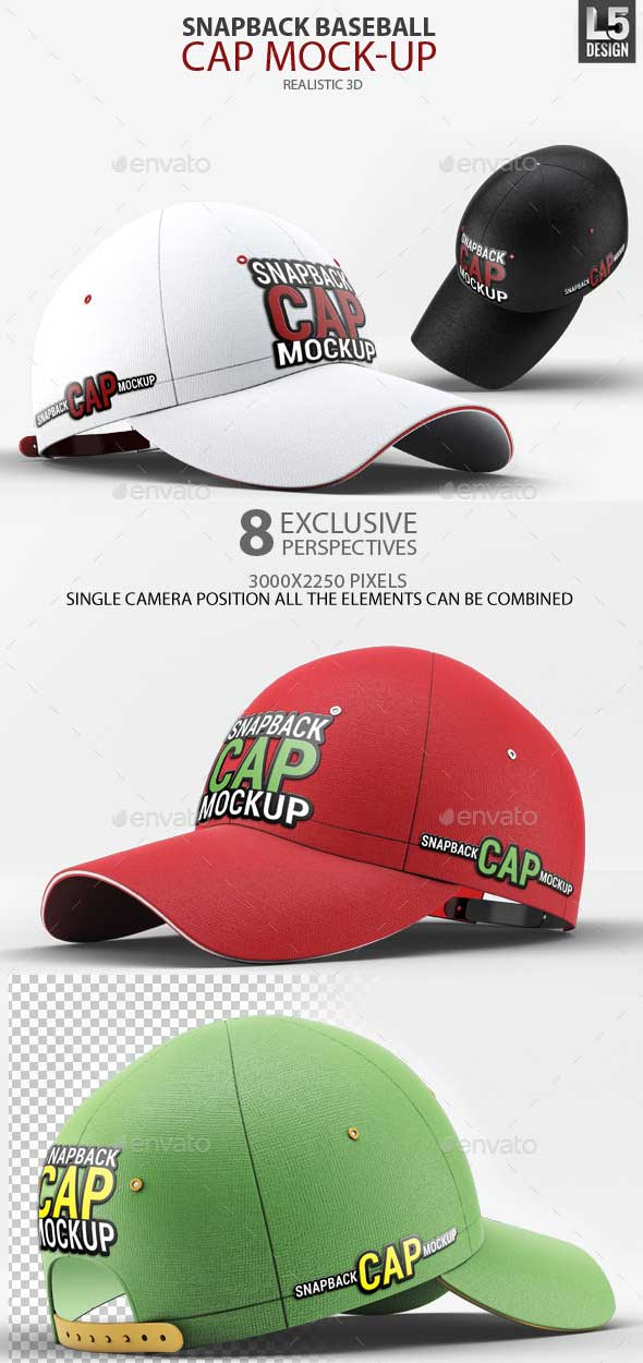 Snapback Baseball Cap Mock-Up PSD