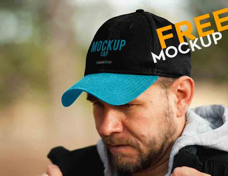 Black and Blue Baseball Cap Mock-Up PSD