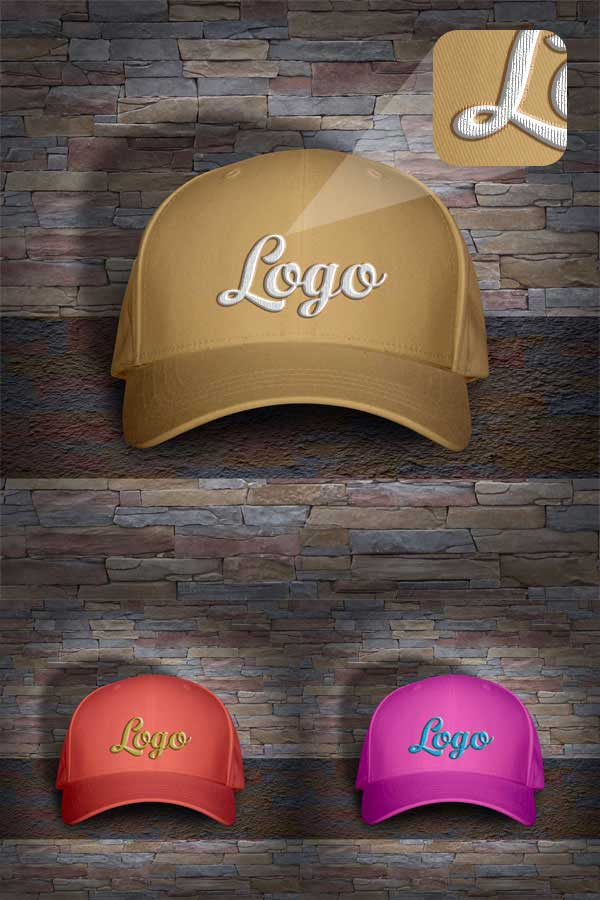 Free Men's Cap Mockup PSD with Woven Text Logo