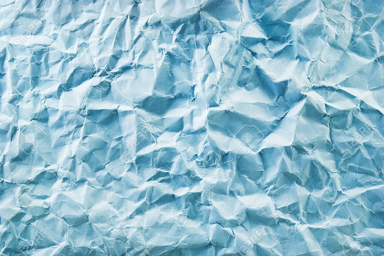Closeup of Blue Crumpled Paper Texture